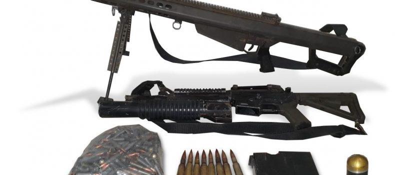 Con Operativo terrestre al norte de Culiacán, autoridades aseguran armas de grueso calibre