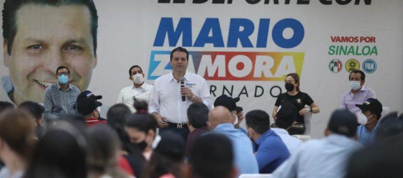 Promover, invertir y rescatar espacios para el deporte, promete Mario Zamora