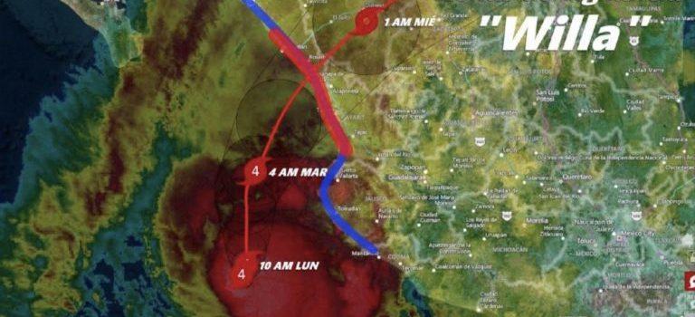 Clima  Huracán Willa se fortalece a categoría 5 con vientos sostenidos de 260 km/h y rachas que superan 300 km/h.