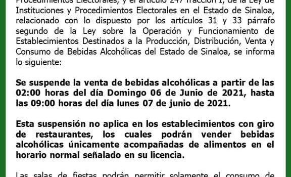 *ANUNCIAN RESTRICCIÓN EN LA VENTA DE BEBIDAS ALCOHÓLICAS POR JORNADA ELECTORAL*