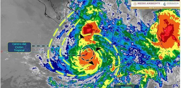 Se pronostican lluvias torrenciales en Colima, Guerrero, Jalisco, Michoacán, Nayarit y Sinaloa.